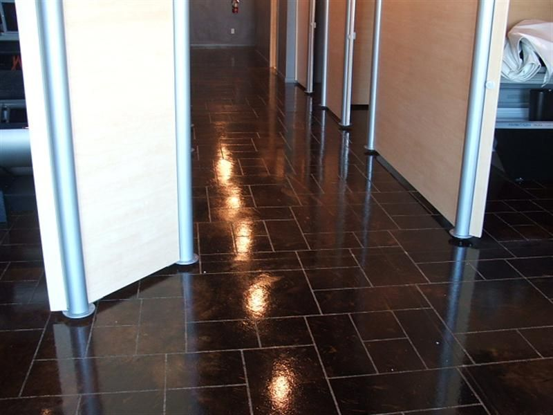 dark stained concrete floors. Tanning Business Floor Countryside Concrete  Inc Stained Engraved