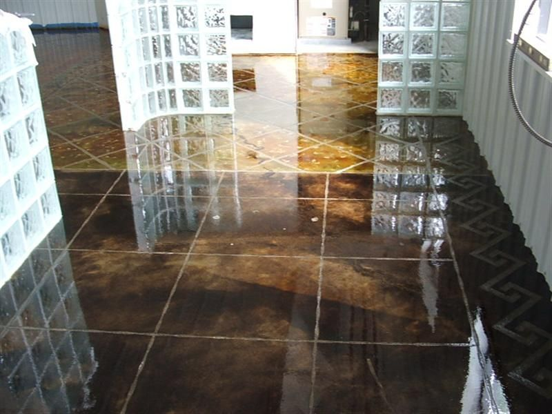 dark brown stained concrete floors. Dark Walnut and Malay Tan Stain  Engraved Tile Patterns Bar Floor Countryside Concrete Inc Stained