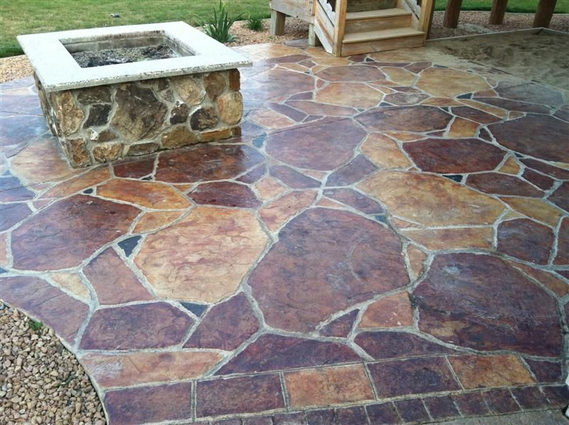 Nice Flagstone Or Stamped Concrete Patio Designs